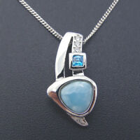 925 Sterling Silver Dominica Natural Larimar CZ Necklace Pendant For Women Gift