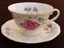 Vintage Rose Pattern Tea Coffee Cup & Saucer Mint Favolina Made in Poland