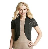 New NWT Relativity Womens Tunic Bolero Shrug Cardigan Sweater Crochet BLACK M38