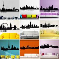 City Silhouette Skyline Cityscape Vinyl Wall Sticker Decal Living Room Bedroom