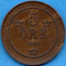 Sweden 1881 5 Five Ore Coin KM #736 - EF