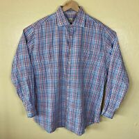 Peter Millar Button Up Dress Shirt Mens XL Blue Check Plaid Long Sleeve Collared