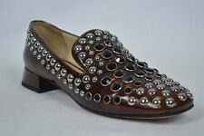 Prada SHOES sandals loafers LEATHER brown  studded 37.5 Womens