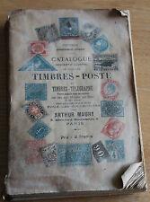 ancien catalogue timbre poste et télegraphe  arthur maury