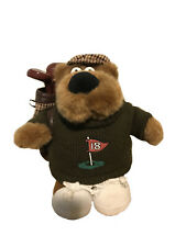 "Russ Berrie 10 1/2"" Plush Sid Bear Golfer Stuffed Toy Sweater Hat Golf Clubs"