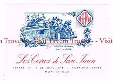 Unused 1940s URUGUAY Montevideo Los Cerros de San Juan blue Wine Label