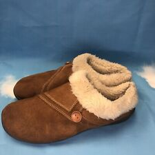 Clarks Kimberly Slip On Slippers Women's Size 10 M Brown Faux Fur Lining Comfort
