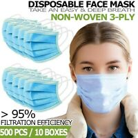 3-Ply Disposable Face Mask [500 PCS] Non Medical Surgical Earloop Mouth Cover