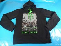 vtg 00s Monster dirt bike hoodie hoody sweater  streetwear  print