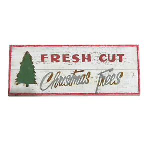 Festive Decorative Wooden Plaque with 'Fresh Cut Christmas Trees' Design Sign