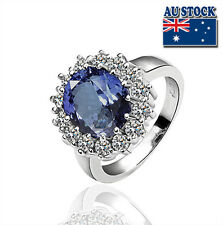 18K White Gold Filled Diana Princess Kate Royal Wedding Engagement Sapphire Ring