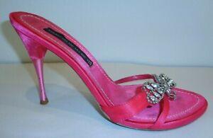 Steven Steve Madden Size 8 M Pink Satin Rhinestones Heels Sandals Womens Shoes