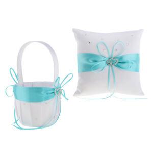1 Set Rhinestone Double Heart Wedding   Pillow Flower Girl Basket White