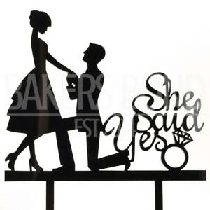 She Said Yes Black Acrylic Engagement Couple Wedding Day Cake Topper Silhouette