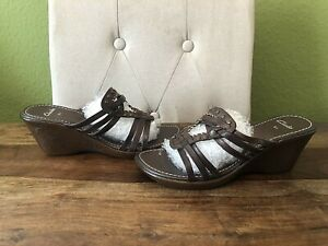 Womens Brown Leather CLARKS Mule Wedge Sandals Size UK 5.5