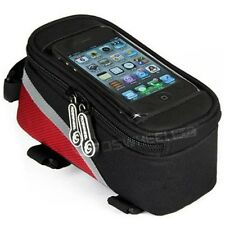 Bicycle Bike Frame Pannier Front Tube Bag For Cell Phone Bike Touch Screen Red