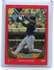 "2011 BOWMAN CHROME #24 DAVID COOPER ""RED REFRACTOR"" ROOKIE RC SP #4/5, BLUE JAYS"