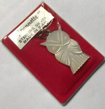 Vintage Sterling Silver Siam 925 Mother Of Pearl Carved Wise Owl Pendant Charm R