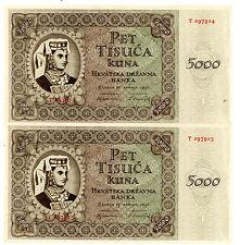 Croatia … P-14a … 500 Kuna … 1943 … *UNC* ... Consecutive Pair