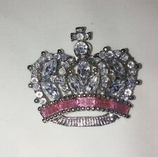 Silver Clear Crystal w/pink stone band Pin / Brooch, princess, queen