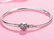 Girls 925 silver snake charm bracelet with pink heart Jewellery present gift