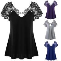 Womens Plain V-Neck Lace Trim T-Shirt Short Sleeve Plus Size Summer Tops Blouse