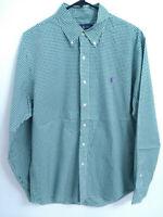 Polo Ralph Lauren Cotton Stretch Mens Large Green Plaid Button Up Dress Shirt