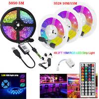 15M/10M/5M 3528 SMD RGB LED Strip Light 44 Key Remote 12V DC Full Kit tape Lamp