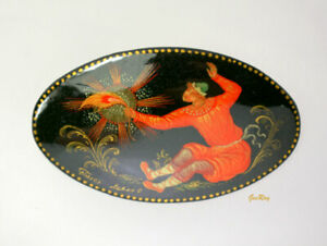 Vintage Russian Lacquer Palekh Brooch Pin, Miniature Fairytale, Signed by Artist