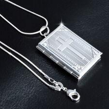 Silver Cross Book Photo Locket Pendant Chain Necklace Chocker Women Man Jewelry