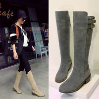 Ladies Womens Buckles Pull on Mid Heel Knee High Boots Shoes UK Size 1--8 B201
