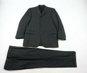 Burberry London Bond Street Black Blue Pinstripe 100% Wool 2 PC Suit Size 40/33R