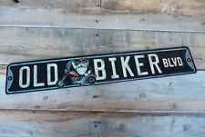 OLD BIKER BLVD Harley Motorcycle Embossed Garage Mancave Shop St Road METAL SIGN