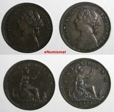 Great Britain Victoria Bronze LOT OF 2 COINS 1874H,1875 H Farthing KM# 753