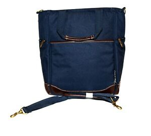Picnic at Ascot Navy Blue Canvas Wine Food Insulated Shoulder Bag NWOT
