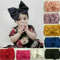 Cute Newborn Baby Turban Headwraps Big Bow Knot Girl 100% Cotton Wide Headband