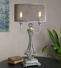 VINTAGE INDUSTRIAL STYLE PAINTED AGED METAL TABLE LAMP SCREEN SHADE UTTERMOST