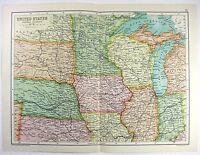 Original 1909 Map of The Midwestern USA by John Bartholomew. Antique