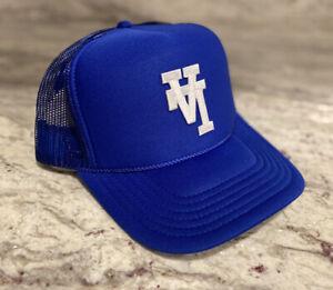 UPSIDE DOWN LA ROYAL BLUE CAP HAT 5 PANEL HIGH CROWN TRUCKER SNAPBACK VINTAGE