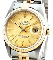 Rolex Datejust Mens 18K Gold Stainless Steel Gold Watch Tapestry Dial 16233