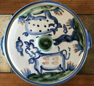 Vintage MA HADLEY Farm Art Pottery Large Covered Casserole Serving Dish Kentucky