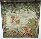 Vintage Italian Woven Putti Cherubs Reading A Book Gazebo Scene Tapestry