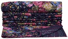 Indian Kantha Embroidery Single Bed Spread Cover Throw Blanket Quilt Tapestry