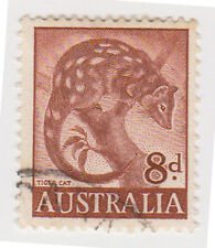 (W1378) 1959 AU 8d brown tiger cat (G)