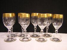 8 Glastonbury Lotus Gold Encrusted Cordial Goblets