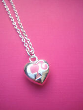 FUNKY SILVER PINK BARBIE HEAD CAMEO HEART NECKLACE KITSCH CUTE RETRO DOLL 80s
