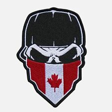 """SKULL with CAP and CANADIAN FLAG Hanky 9"""" x 13"""" embroidered CENTER Patch-0652"""