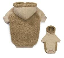 TEDDY BEAR FLEECE HOODIE Quilted & Cuddly Thick Berber Dog Sweater Coat w Hood