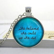 Vintage Words Cabochon Tibetan silver Glass Chain Pendant Necklace @G02