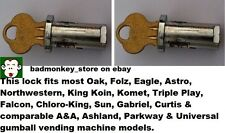 2) LOCK & KEY Sets for OAK NORTHWESTERN & most GUMBALL NUT VENDING MACHINE model